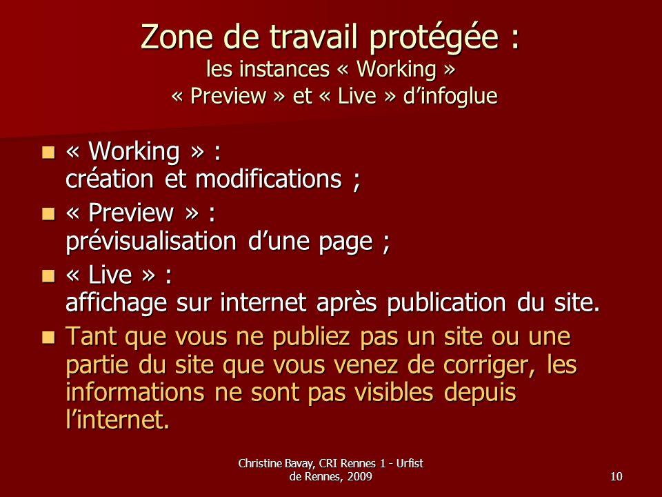 Christine Bavay, CRI Rennes 1 - Urfist de Rennes, 200910 Zone de travail protégée : les instances « Working » « Preview » et « Live » dinfoglue « Work