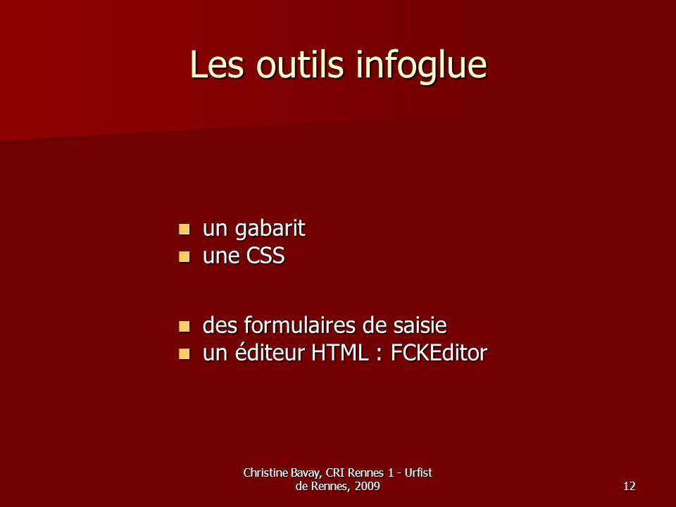 Christine Bavay, CRI Rennes 1 - Urfist de Rennes, 200912 Les outils infoglue un gabarit un gabarit une CSS une CSS des formulaires de saisie des formu