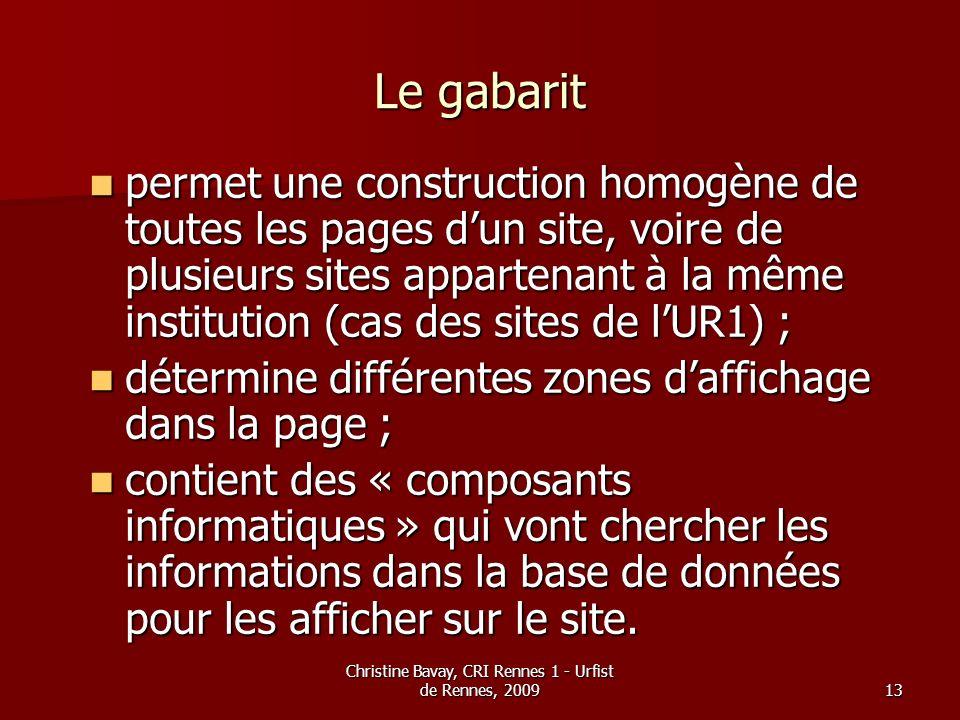 Christine Bavay, CRI Rennes 1 - Urfist de Rennes, 200913 Le gabarit permet une construction homogène de toutes les pages dun site, voire de plusieurs