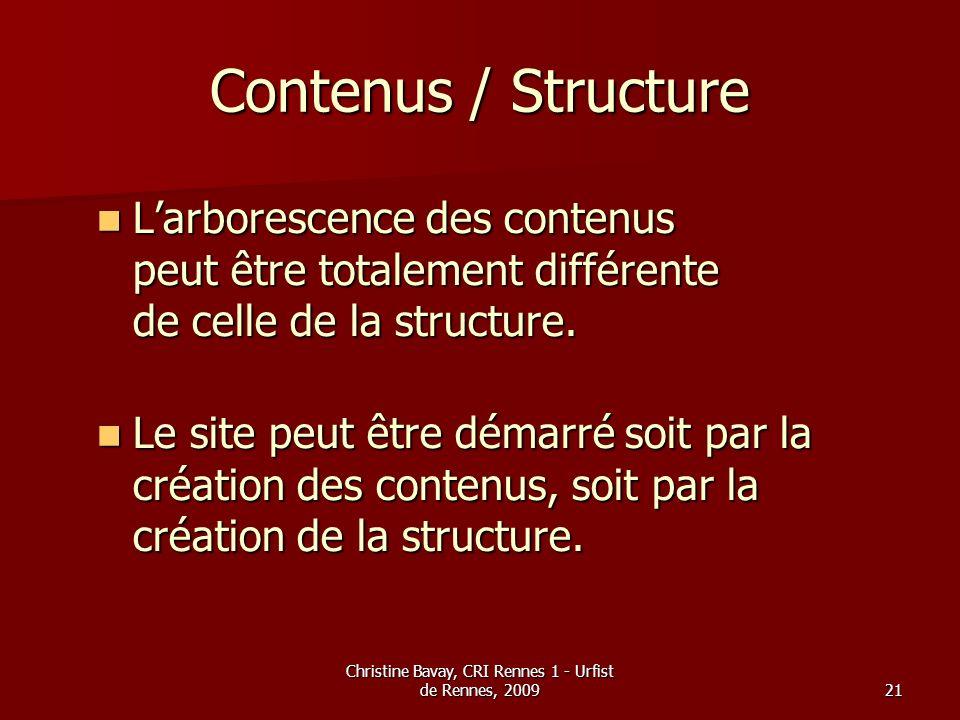 Christine Bavay, CRI Rennes 1 - Urfist de Rennes, 200921 Contenus / Structure Larborescence des contenus peut être totalement différente de celle de l