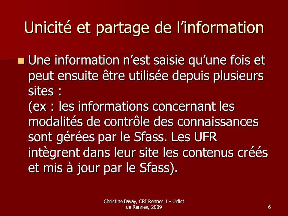 Christine Bavay, CRI Rennes 1 - Urfist de Rennes, 20096 Unicité et partage de linformation Une information nest saisie quune fois et peut ensuite être