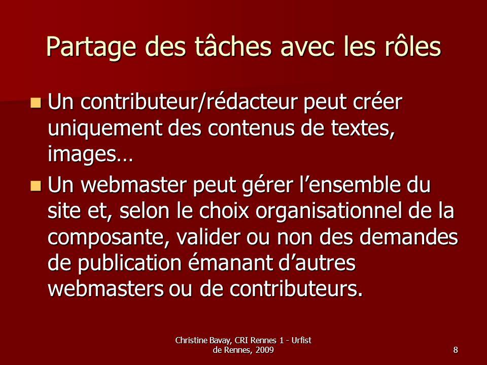 Christine Bavay, CRI Rennes 1 - Urfist de Rennes, 20099 Contrôles daccès Des contrôles daccès peuvent être définis tant au niveau des répertoires de contenus que des éléments de la structure de navigation (en lecture, écriture…) Des contrôles daccès peuvent être définis tant au niveau des répertoires de contenus que des éléments de la structure de navigation (en lecture, écriture…)
