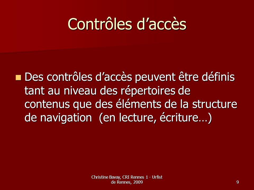 Christine Bavay, CRI Rennes 1 - Urfist de Rennes, 20099 Contrôles daccès Des contrôles daccès peuvent être définis tant au niveau des répertoires de c