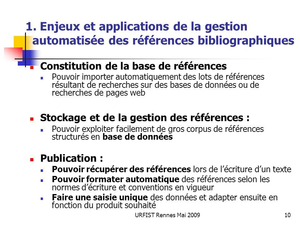 URFIST Rennes Mai 200910 1. Enjeux et applications de la gestion automatisée des références bibliographiques Constitution de la base de références Pou