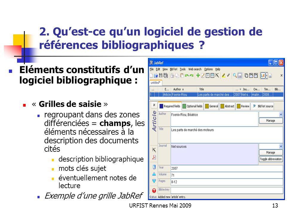 URFIST Rennes Mai 200913 2. Quest-ce quun logiciel de gestion de références bibliographiques ? Eléments constitutifs dun logiciel bibliographique : «