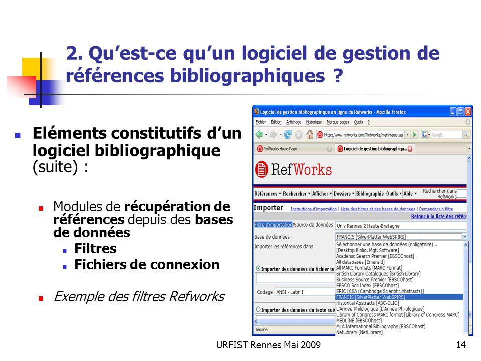 URFIST Rennes Mai 200914 2. Quest-ce quun logiciel de gestion de références bibliographiques ? Eléments constitutifs dun logiciel bibliographique (sui