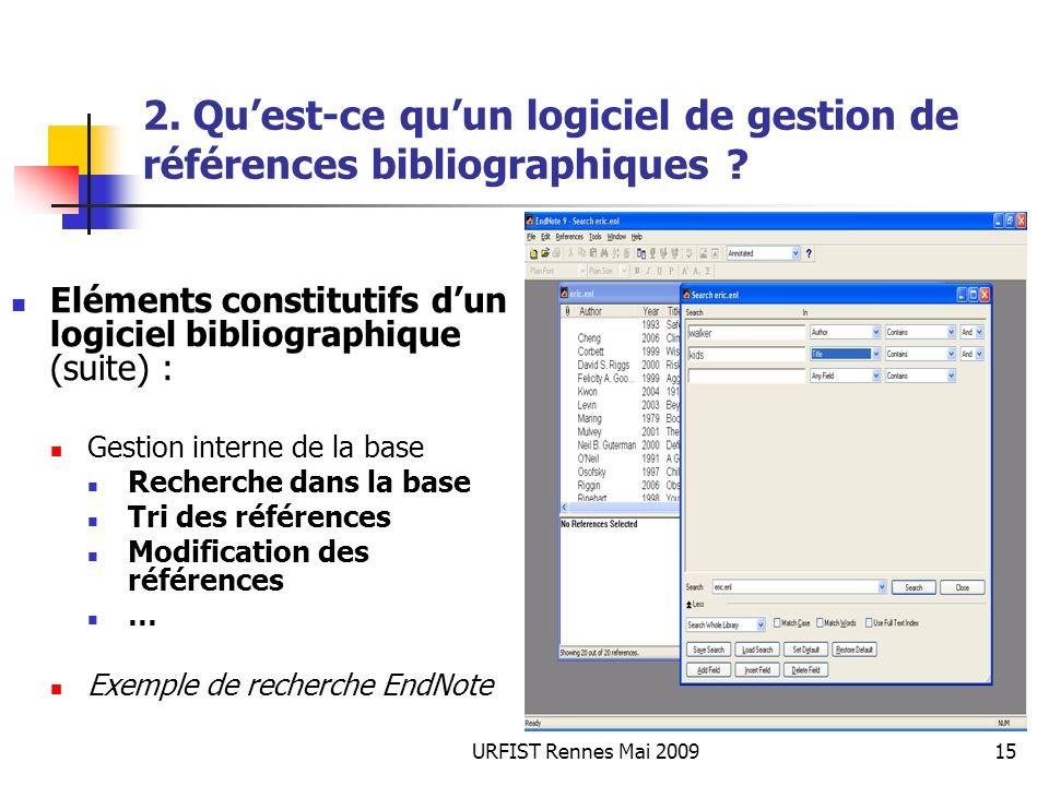URFIST Rennes Mai 200915 2. Quest-ce quun logiciel de gestion de références bibliographiques ? Eléments constitutifs dun logiciel bibliographique (sui