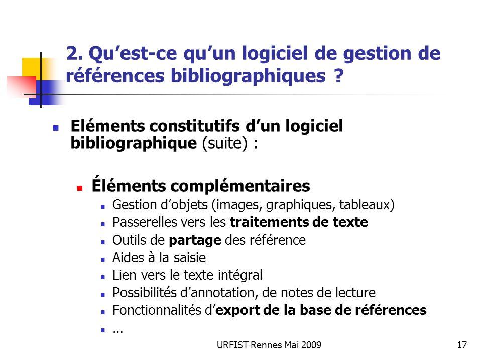 URFIST Rennes Mai 200917 2. Quest-ce quun logiciel de gestion de références bibliographiques ? Eléments constitutifs dun logiciel bibliographique (sui