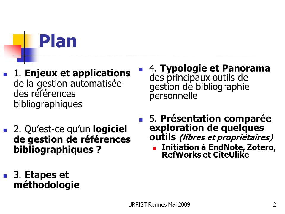 URFIST Rennes Mai 20092 Plan 1. Enjeux et applications de la gestion automatisée des références bibliographiques 2. Quest-ce quun logiciel de gestion