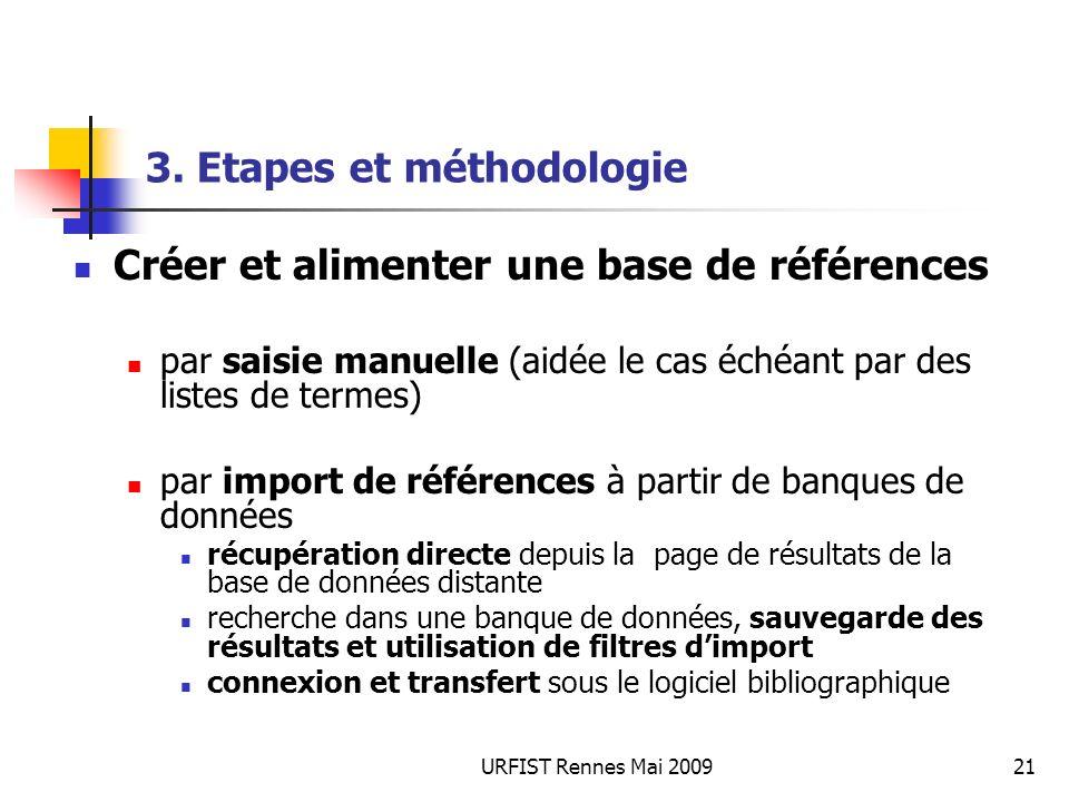 URFIST Rennes Mai 200921 3. Etapes et méthodologie Créer et alimenter une base de références par saisie manuelle (aidée le cas échéant par des listes