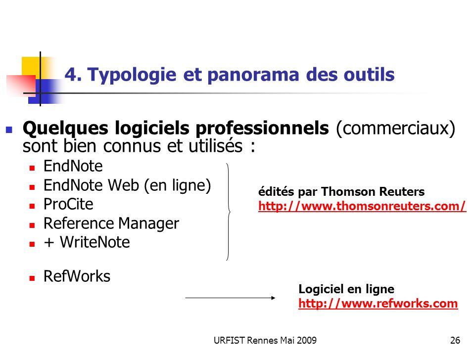 URFIST Rennes Mai 200926 4. Typologie et panorama des outils Quelques logiciels professionnels (commerciaux) sont bien connus et utilisés : EndNote En
