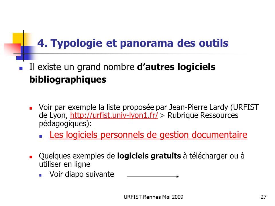 URFIST Rennes Mai 200927 4. Typologie et panorama des outils Il existe un grand nombre dautres logiciels bibliographiques Voir par exemple la liste pr