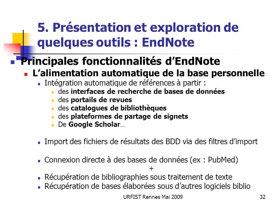 URFIST Rennes Mai 200932 5. Présentation et exploration de quelques outils : EndNote Principales fonctionnalités dEndNote Lalimentation automatique de