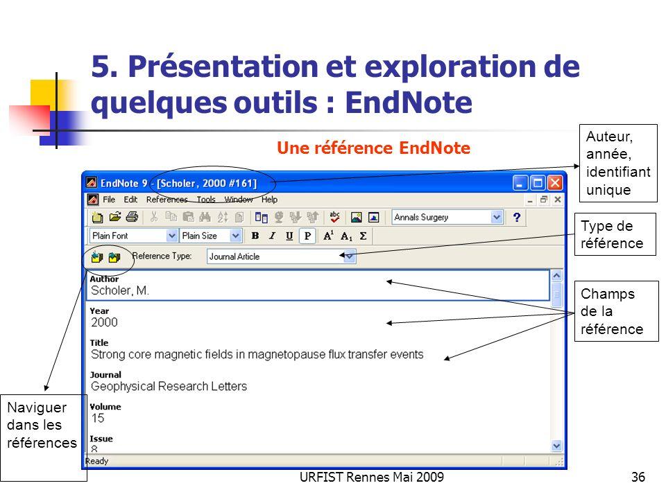 URFIST Rennes Mai 200936 5. Présentation et exploration de quelques outils : EndNote Auteur, année, identifiant unique Champs de la référence Type de
