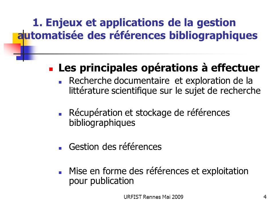 URFIST Rennes Mai 20094 1. Enjeux et applications de la gestion automatisée des références bibliographiques Les principales opérations à effectuer Rec