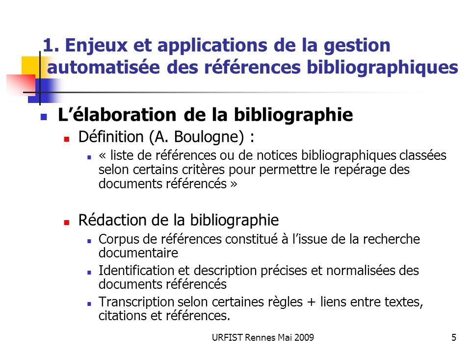 URFIST Rennes Mai 20095 1. Enjeux et applications de la gestion automatisée des références bibliographiques Lélaboration de la bibliographie Définitio