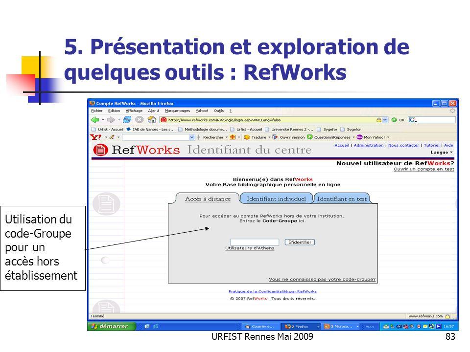 URFIST Rennes Mai 200983 5. Présentation et exploration de quelques outils : RefWorks Utilisation du code-Groupe pour un accès hors établissement