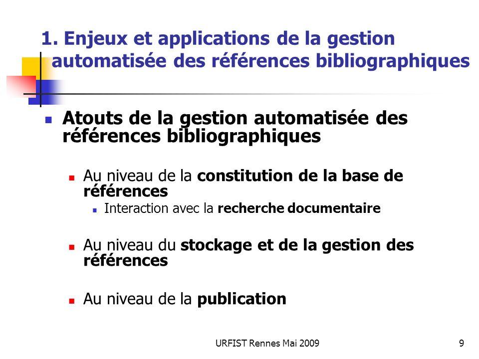 URFIST Rennes Mai 20099 1. Enjeux et applications de la gestion automatisée des références bibliographiques Atouts de la gestion automatisée des référ