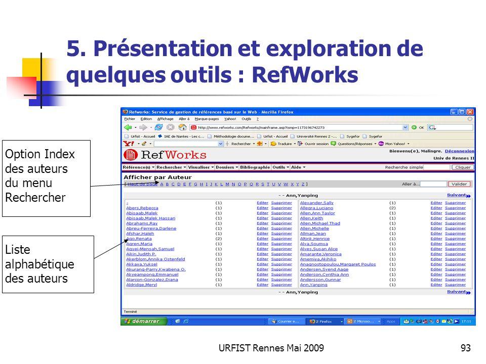 URFIST Rennes Mai 200993 5. Présentation et exploration de quelques outils : RefWorks Option Index des auteurs du menu Rechercher Liste alphabétique d