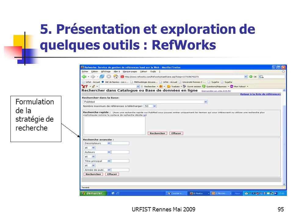 URFIST Rennes Mai 200995 5. Présentation et exploration de quelques outils : RefWorks Formulation de la stratégie de recherche