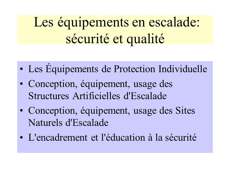 Les équipements en escalade: sécurité et qualité Les Équipements de Protection Individuelle Conception, équipement, usage des Structures Artificielles
