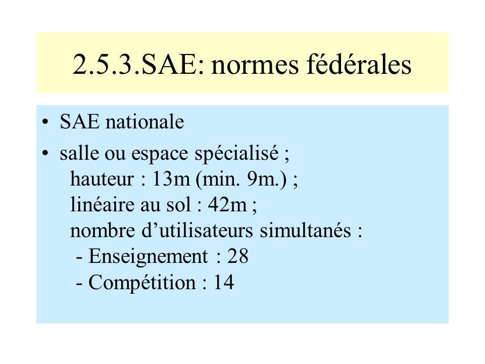 2.5.3.SAE: normes fédérales SAE nationale salle ou espace spécialisé ; hauteur : 13m (min. 9m.) ; linéaire au sol : 42m ; nombre dutilisateurs simulta