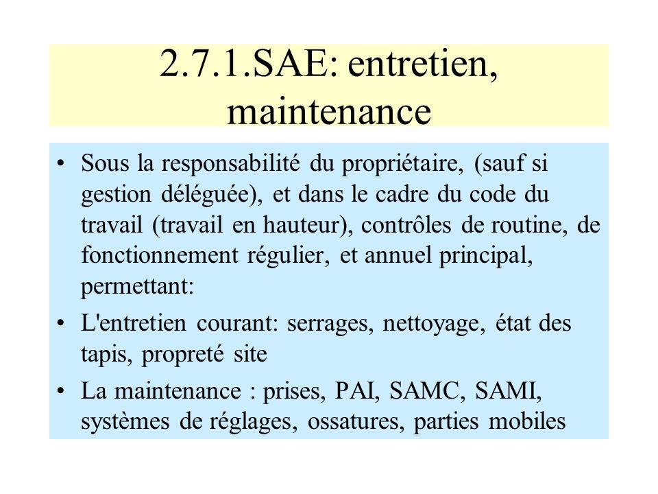 2.7.1.SAE: entretien, maintenance Sous la responsabilité du propriétaire, (sauf si gestion déléguée), et dans le cadre du code du travail (travail en