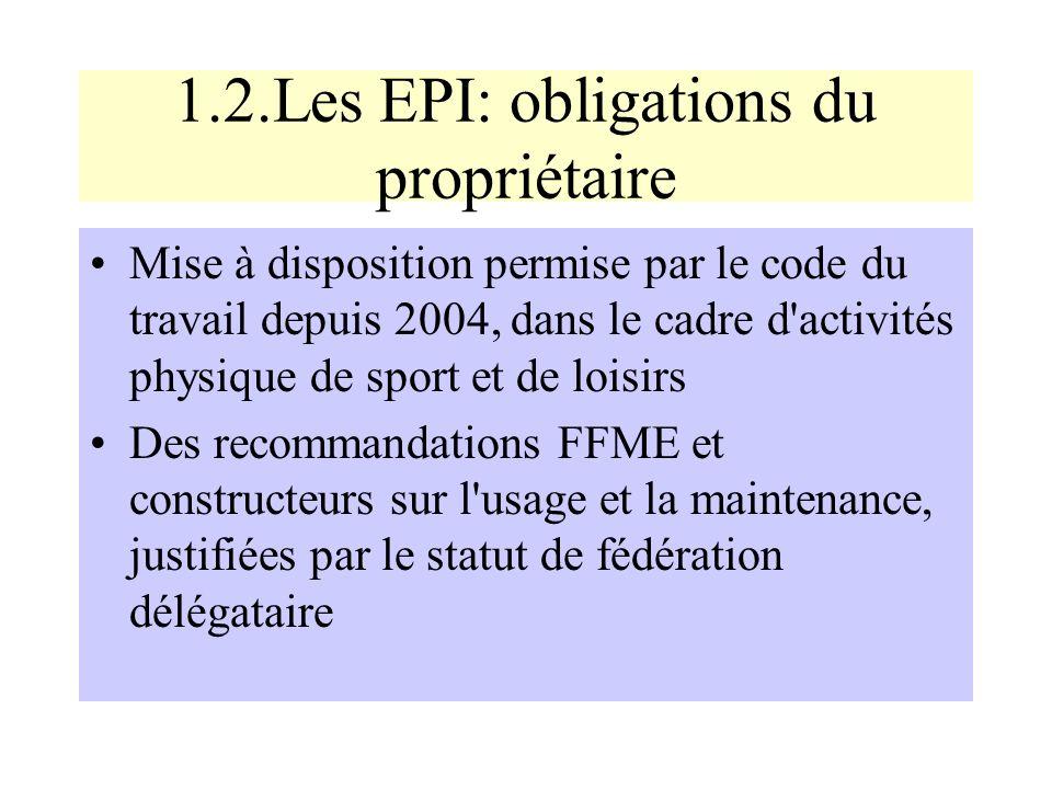 1.2.Les EPI: obligations du propriétaire Mise à disposition permise par le code du travail depuis 2004, dans le cadre d'activités physique de sport et