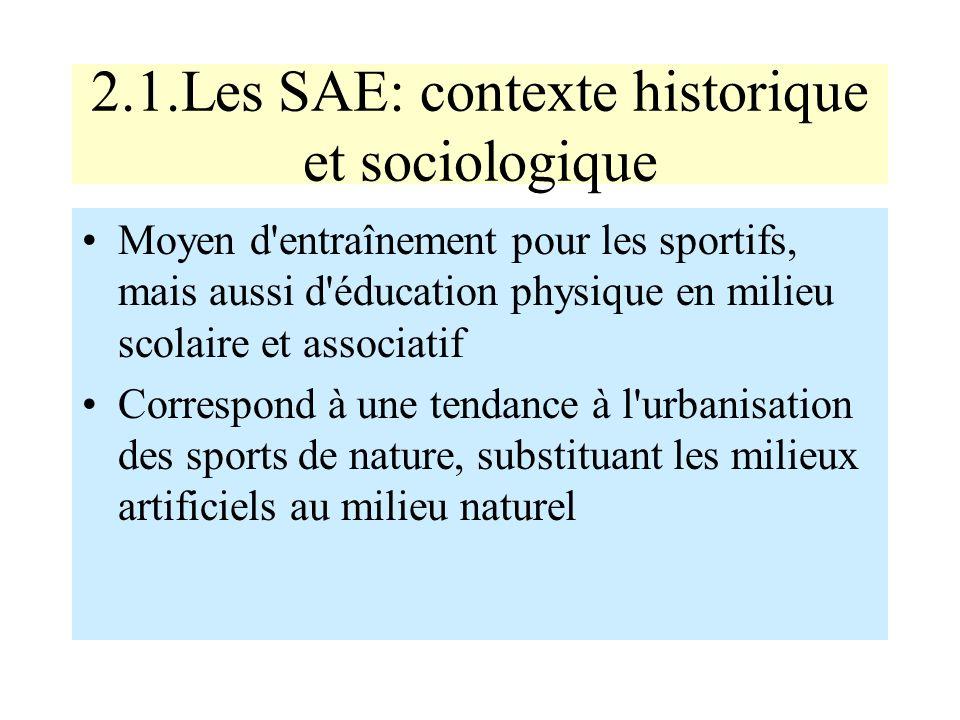 2.1.Les SAE: contexte historique et sociologique Moyen d'entraînement pour les sportifs, mais aussi d'éducation physique en milieu scolaire et associa