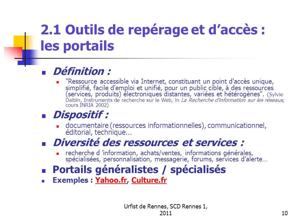 Urfist de Rennes, SCD Rennes 1, 201110 2.1 Outils de repérage et daccès : les portails Définition :