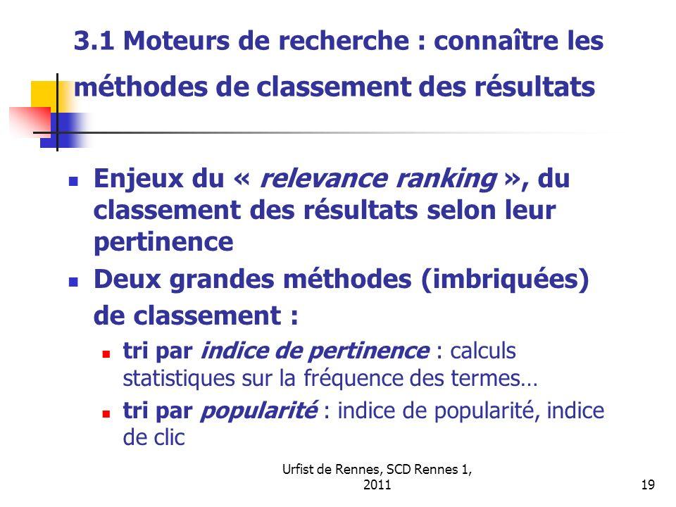 Urfist de Rennes, SCD Rennes 1, 201119 3.1 Moteurs de recherche : connaître les m éthodes de classement des résultats Enjeux du « relevance ranking »,