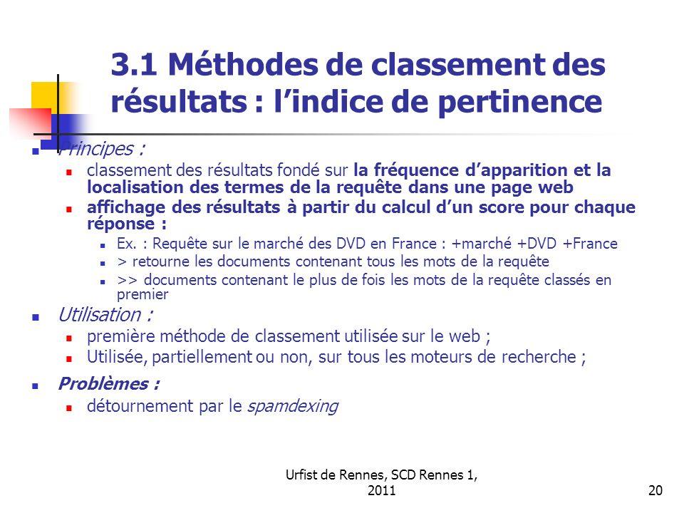 Urfist de Rennes, SCD Rennes 1, 201120 3.1 Méthodes de classement des résultats : lindice de pertinence Principes : classement des résultats fondé sur