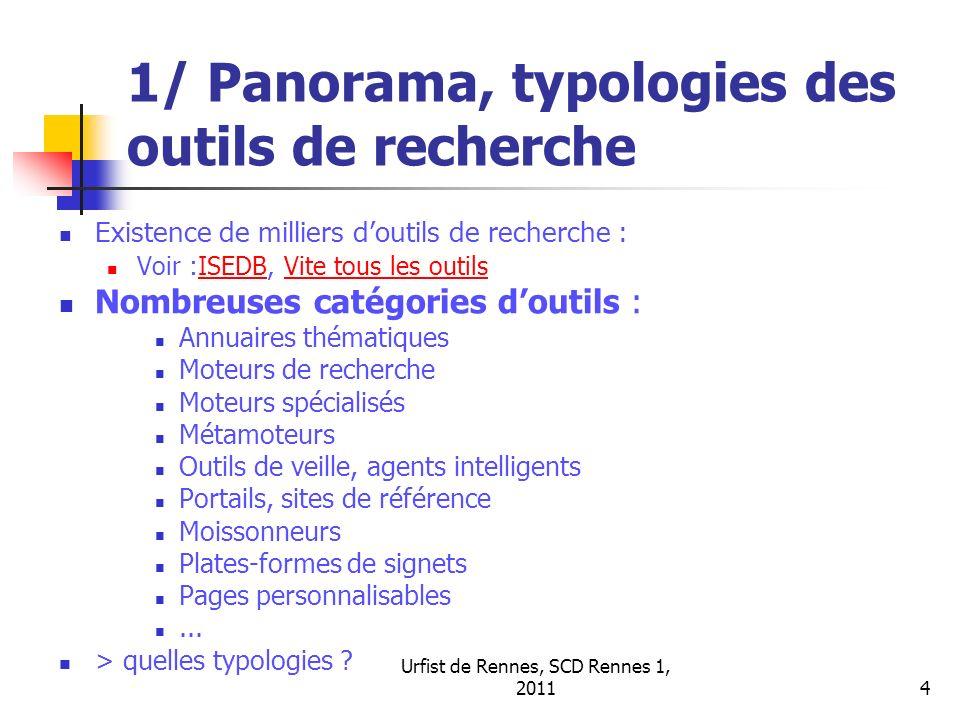 Urfist de Rennes, SCD Rennes 1, 20114 1/ Panorama, typologies des outils de recherche Existence de milliers doutils de recherche : Voir :ISEDB, Vite t
