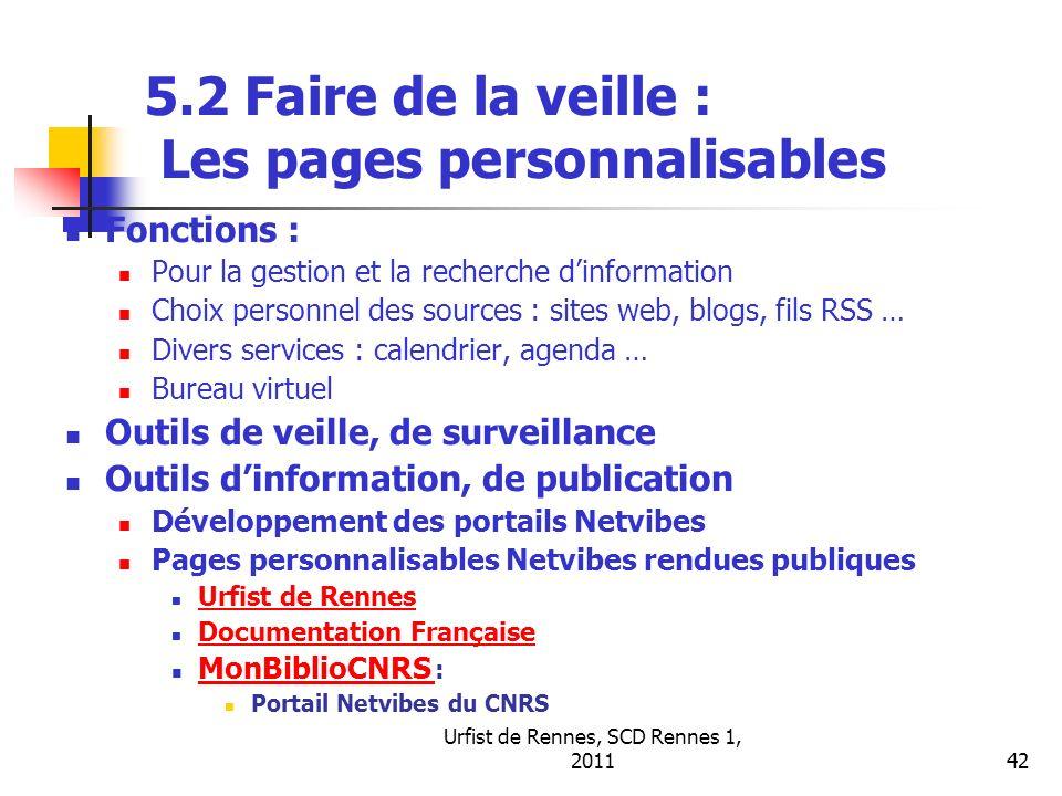 Urfist de Rennes, SCD Rennes 1, 201142 5.2 Faire de la veille : Les pages personnalisables Fonctions : Pour la gestion et la recherche dinformation Ch