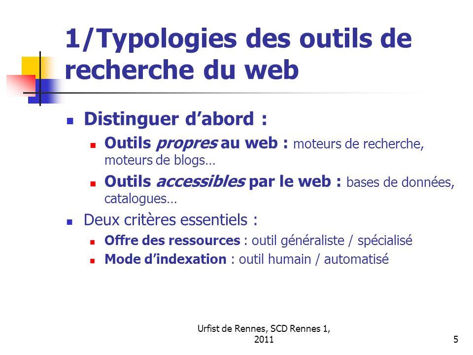 Urfist de Rennes, SCD Rennes 1, 20115 1/Typologies des outils de recherche du web Distinguer dabord : Outils propres au web : moteurs de recherche, mo