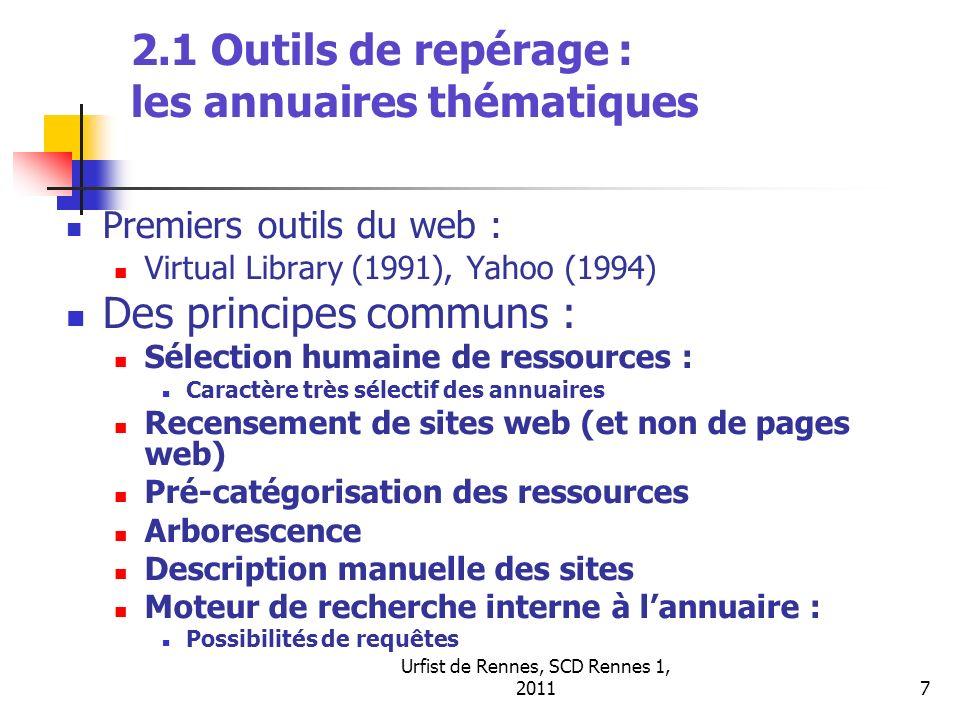Urfist de Rennes, SCD Rennes 1, 20117 2.1 Outils de repérage : les annuaires thématiques Premiers outils du web : Virtual Library (1991), Yahoo (1994)