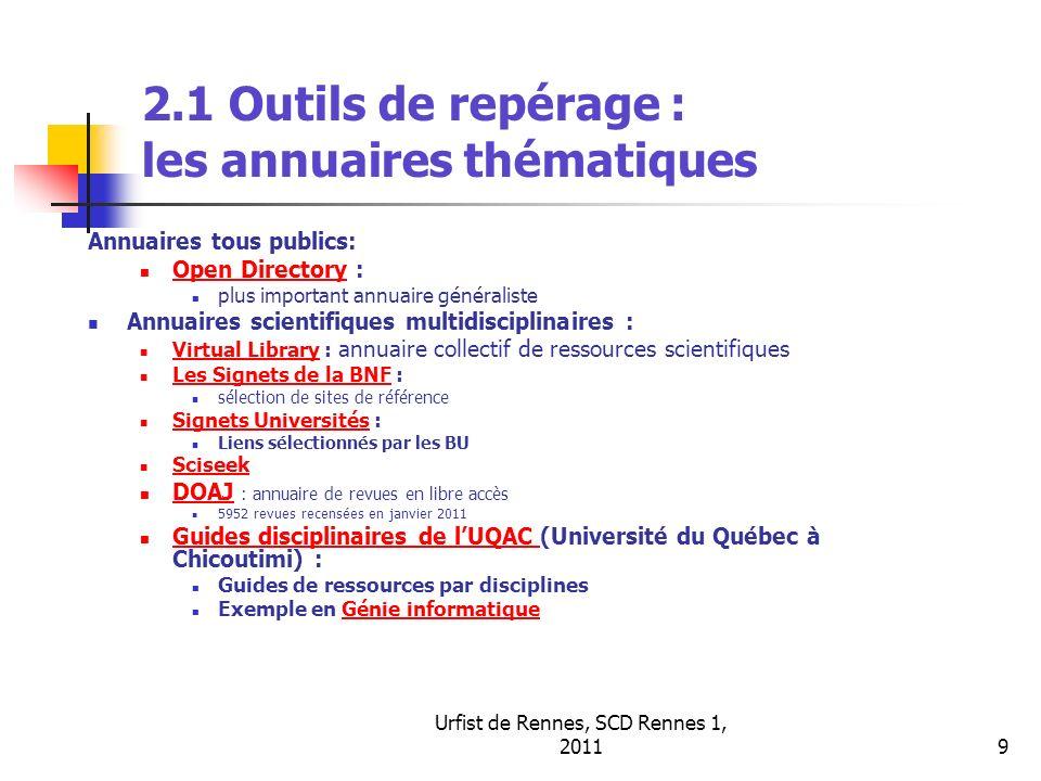 Urfist de Rennes, SCD Rennes 1, 20119 2.1 Outils de repérage : les annuaires thématiques Annuaires tous publics: Open Directory : Open Directory plus