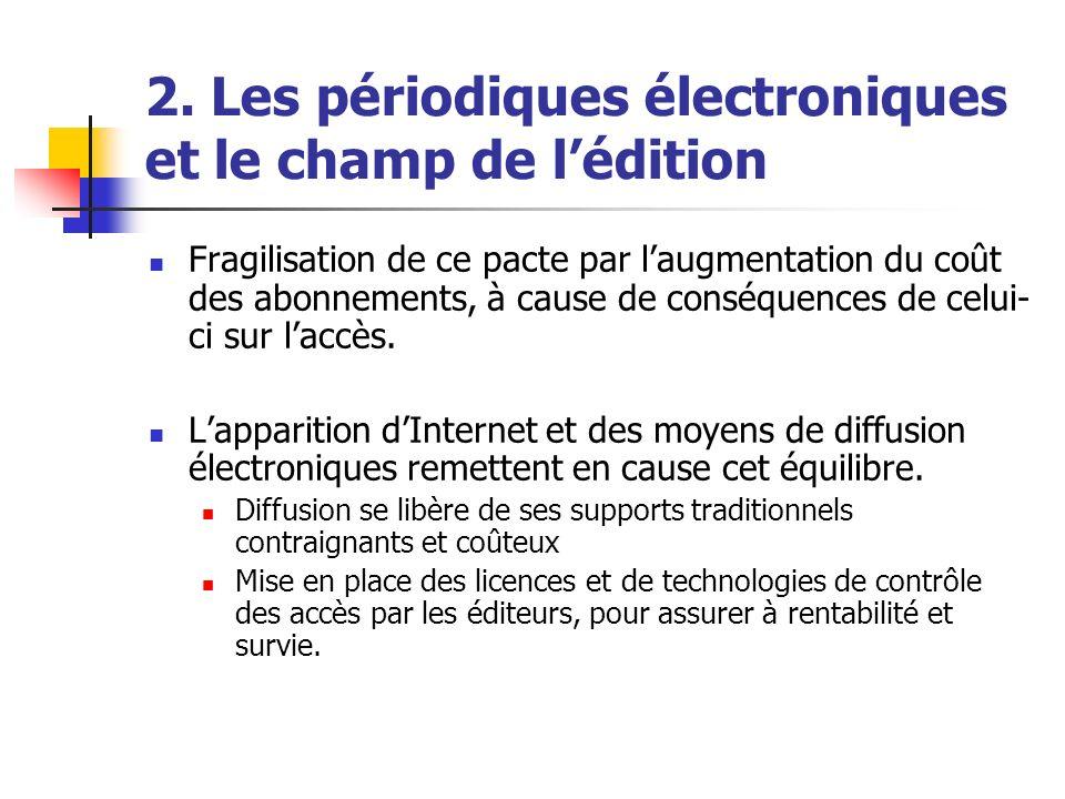 2. Les périodiques électroniques et le champ de lédition Fragilisation de ce pacte par laugmentation du coût des abonnements, à cause de conséquences