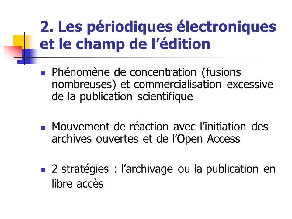 2. Les périodiques électroniques et le champ de lédition Phénomène de concentration (fusions nombreuses) et commercialisation excessive de la publicat