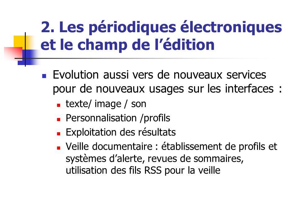 2. Les périodiques électroniques et le champ de lédition Evolution aussi vers de nouveaux services pour de nouveaux usages sur les interfaces : texte/