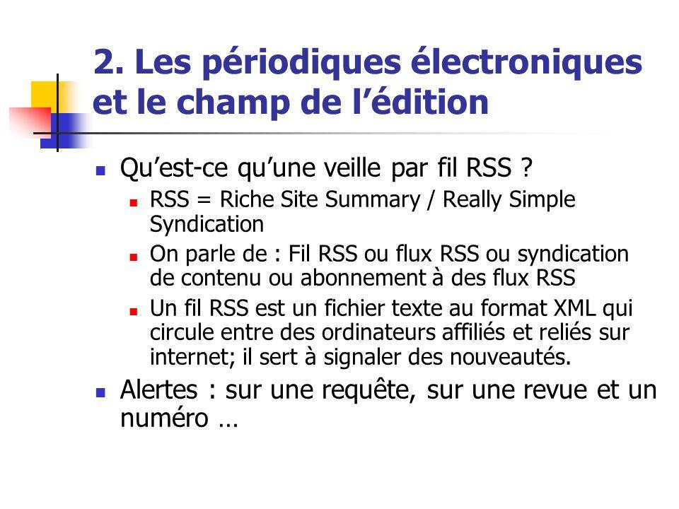 2. Les périodiques électroniques et le champ de lédition Quest-ce quune veille par fil RSS ? RSS = Riche Site Summary / Really Simple Syndication On p