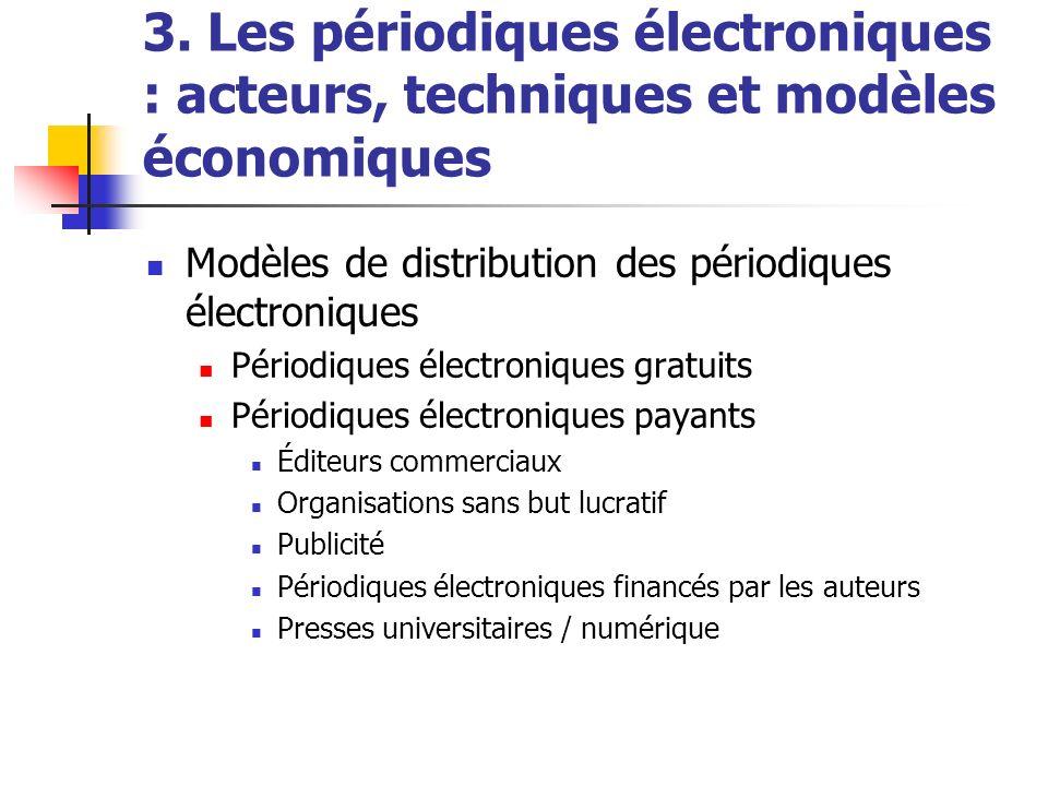 3. Les périodiques électroniques : acteurs, techniques et modèles économiques Modèles de distribution des périodiques électroniques Périodiques électr