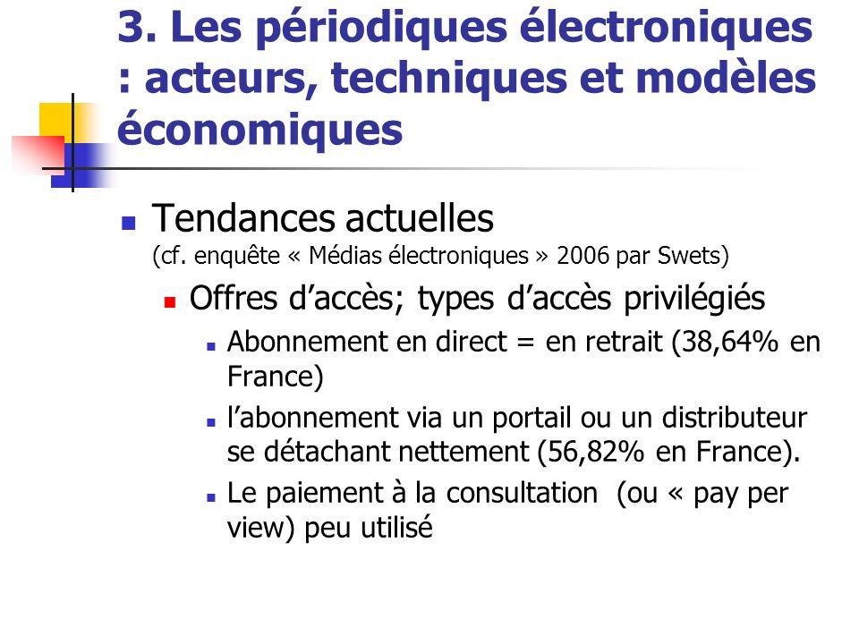 3. Les périodiques électroniques : acteurs, techniques et modèles économiques Tendances actuelles (cf. enquête « Médias électroniques » 2006 par Swets