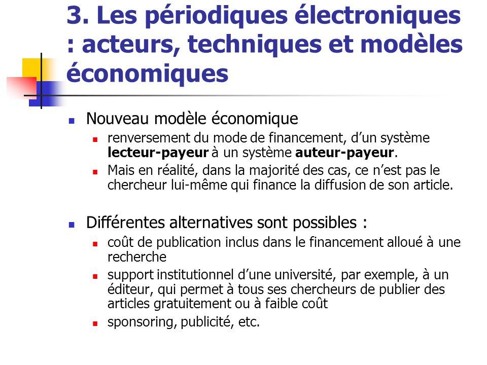 3. Les périodiques électroniques : acteurs, techniques et modèles économiques Nouveau modèle économique renversement du mode de financement, dun systè