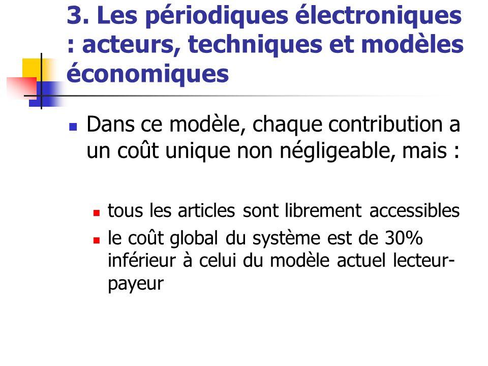 3. Les périodiques électroniques : acteurs, techniques et modèles économiques Dans ce modèle, chaque contribution a un coût unique non négligeable, ma