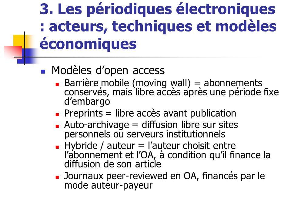 3. Les périodiques électroniques : acteurs, techniques et modèles économiques Modèles dopen access Barrière mobile (moving wall) = abonnements conserv