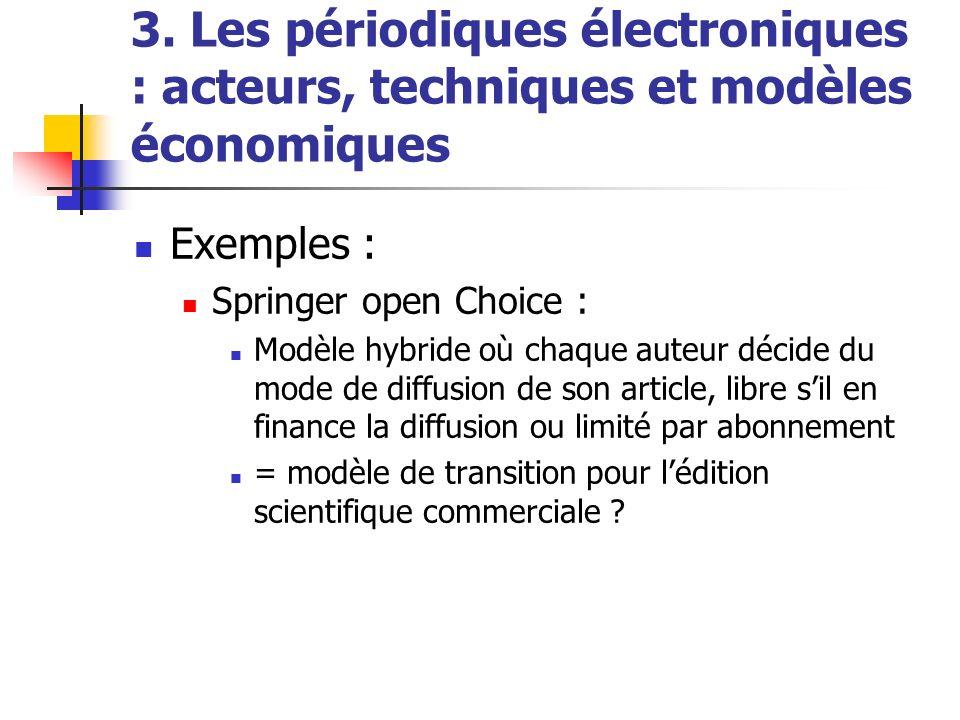 3. Les périodiques électroniques : acteurs, techniques et modèles économiques Exemples : Springer open Choice : Modèle hybride où chaque auteur décide