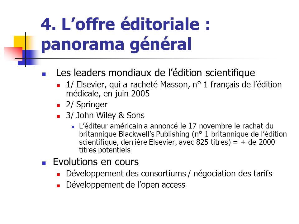 4. Loffre éditoriale : panorama général Les leaders mondiaux de lédition scientifique 1/ Elsevier, qui a racheté Masson, n° 1 français de lédition méd