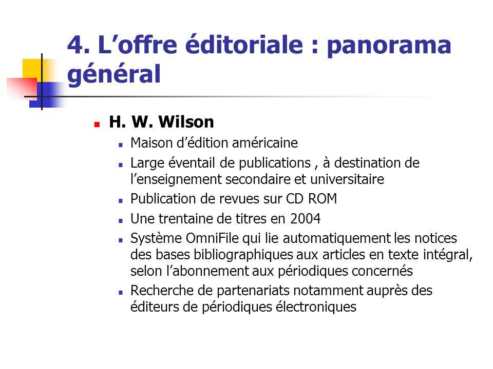 4. Loffre éditoriale : panorama général H. W. Wilson Maison dédition américaine Large éventail de publications, à destination de lenseignement seconda