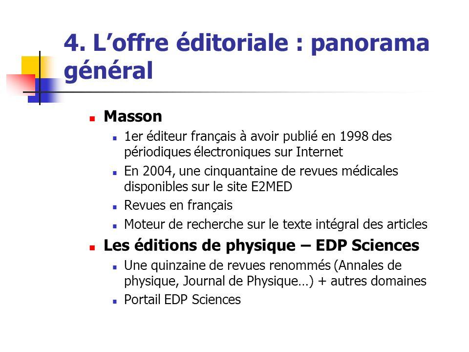 4. Loffre éditoriale : panorama général Masson 1er éditeur français à avoir publié en 1998 des périodiques électroniques sur Internet En 2004, une cin